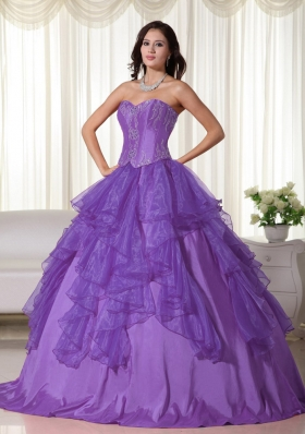 Informal Purple Ball Gown Sweetheart Ruffles Quinceanera Dress