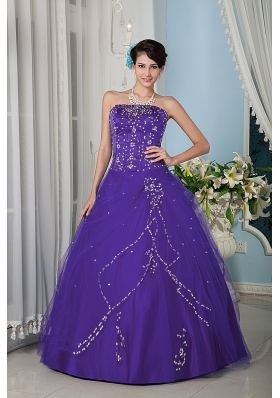 Purple A-line Strapsless Dresses Of 15 with Beading for Girl