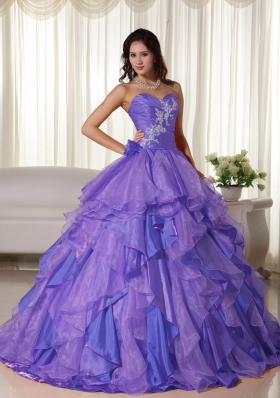 Purple Ball Gown Sweetheart Appliques and Ruffles Quinceanera Dress