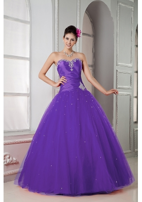 Purple Ball Gown Sweetheart Quinceanera Gown with Beading