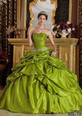 Olive Green Strapless Sweet Sixteen Dresses with Appliques and Beading