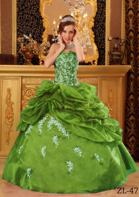 Strapless Organza Sweet 16 Dresses with Pick-ups and Appliques