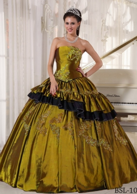 Ball Gown Strapless Olive Green Quinceanera Dress with Beading