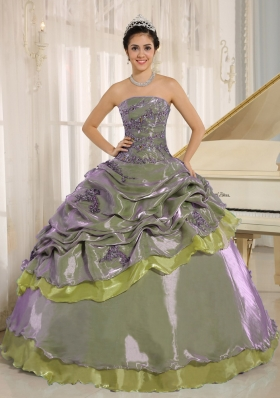 Olive Green Embroidery Decorate Clearance Dresses For a Quinceanera