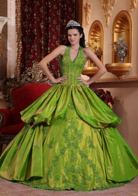 Olive Green Halter Appliques and Pick-ups Dress For Quinceaneras