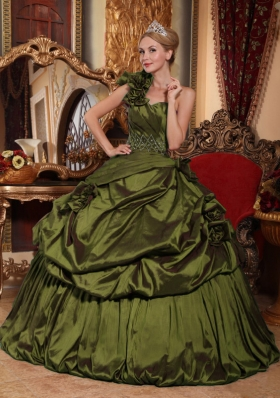Olive Green One Shoulder Beading and Pick-ups Dress For Quinceanera