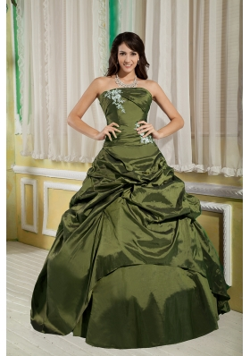 Olive Green Princess Strapless Taffeta Appliques Sweet 16 Dresses with Pick-ups
