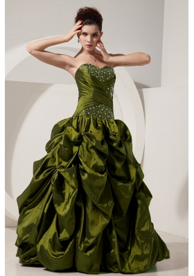 Olive Green Princess Sweetheart Sweet Sixteen Dresses with Pick-ups and Beading