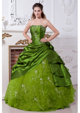 Olive Green Strapless Organza Sweet 16 Dresses with Embroidery and Pick-ups
