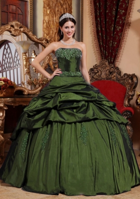 Olive Green Strapless Taffeta Discount Quinceanera Dress with Beading