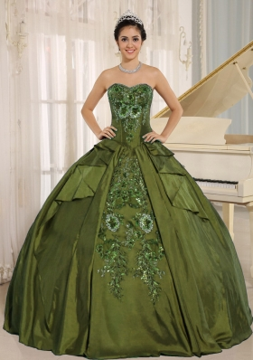 Pretty Olive Green Embroidery Quinceanera Dress with Sweetheart
