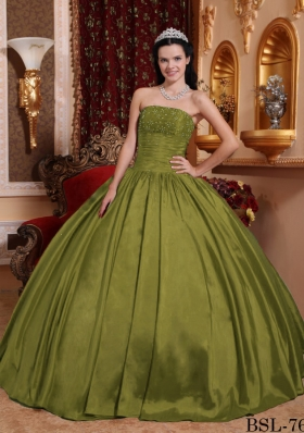 Puffy Strapless Taffeta Beading Olive Green Dresses For a Quince