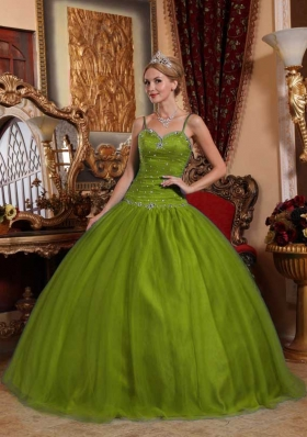 Spaghetti Straps Tulle Beading Olive Green Dresses For a Quinceanera
