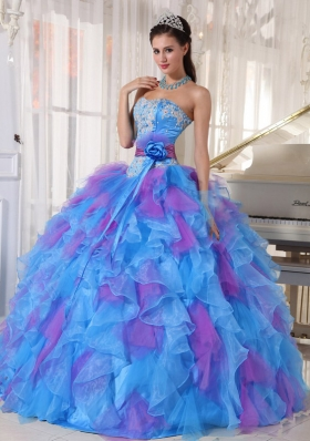 Elagant Sweetheart Appliques and Ruffles Organza Quinceanera Dresses for 2014