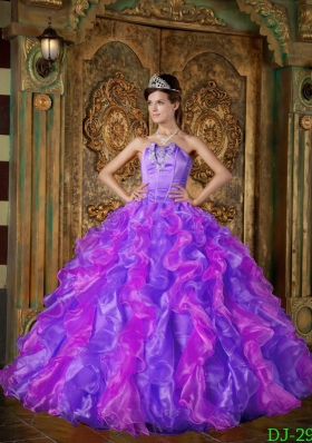 Exclusive Puffy Strapless with Ruffles Quinceanera Dress for 2014