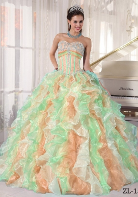 Exquisite Multi-color Puffy Sweetheart 2014 Appliques Quinceanera Dresses with Ruffles