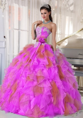 2014 Pretty Puffy Sweetheart Organza Long Quinceanera Dress with Appliques
