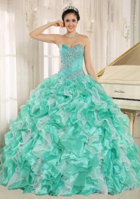 Beautiful Apple Green Beading and Ruffles Custom Made 2014 Quinceanera Dresses