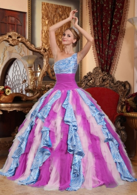 Multi-color Puffy One Shoulder 2014 Ruffles Quinceanera Dress for Custom Made