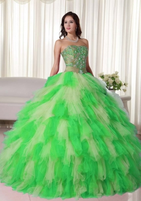 Multi-color Puffy Strapless 2014 Appliques Quinceanera Dress with Ruffles
