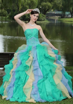 Sweet Appliques Ruffles Layered Colorful Quinceanera Dresses For 2014