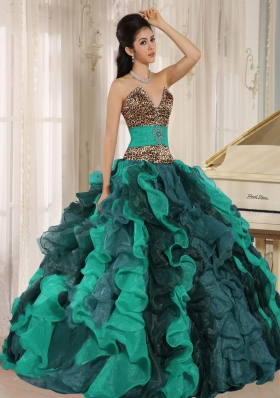 Wholesale Multi-color V-neck Ruffles Leopard and Beading Quinceanera Dresses