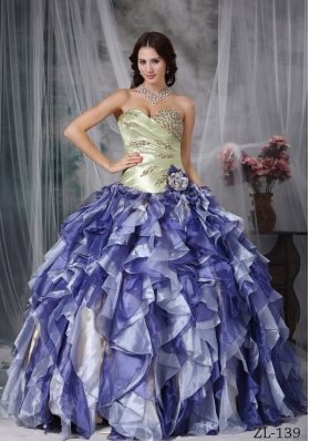 8540fe6474d 2014 Spring Colorful Puffy Sweetheart Beading and Ruffles Quinceanea Dresses