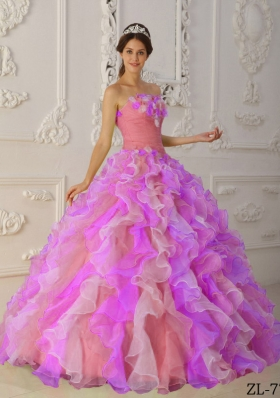 2014 Romantic Multi-Color Puffy Strapless Ruffles Quinceanera Dresses