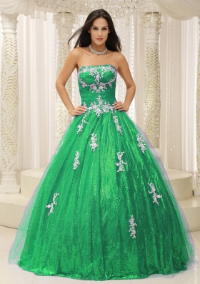 2014 Wonderful Princess Quinceanera Dresses with Appliques Paillette Over Skirt Tulle