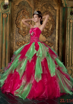 Hot Pink Puffy Strapless 2014 Beading and Ruffles Quinceanera Dresses