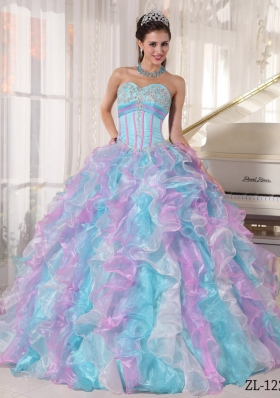 Multi-color Puffy Sweetheart Appliques Quinceanera Dress for 2014