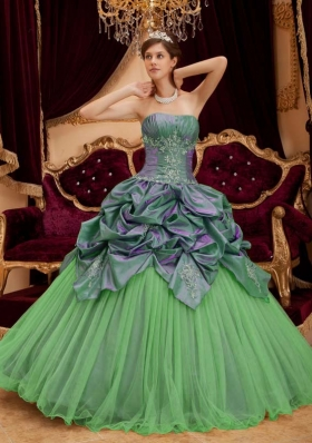 Perfect Green Puffy Strapless with Pick-ups and Beading for 2014 Quinceanera Dress