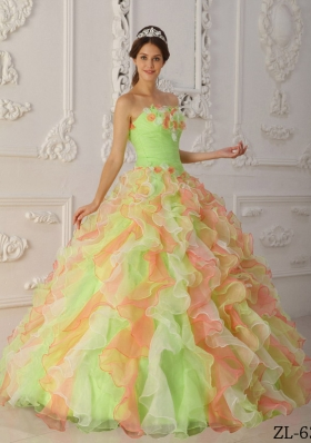 2014 Multi-Color Puffy Strapless Ruffles Quinceanera Dresses