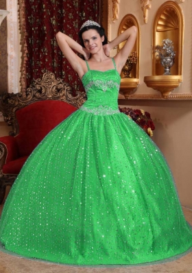 Classical Green Puffy Spaghetti Straps with Sequined Beading Quinceanera Dress for 2014