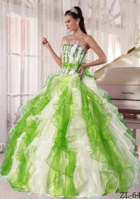 Colorful Puffy Strapless 2014 Beading Quinceanera Dresses with Ruffles