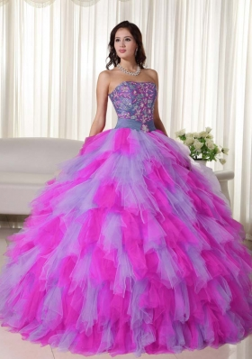 Multi-color Puffy Strapless Appliques Quinceanera Dresses for 2014