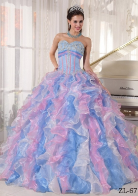Multi-color Puffy Sweetheart 2014 Appliques Quinceanera Dresses with Ruffles
