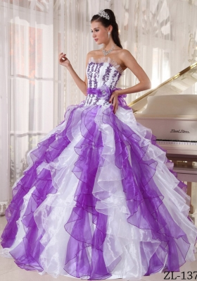 New Style Puffy Strapless Beading Quinceanera Dress for 2014