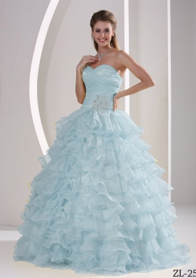 2014 Elegant Sweetheart Ruching and Appliques Quinceanera Dresses With Ruffled Layers