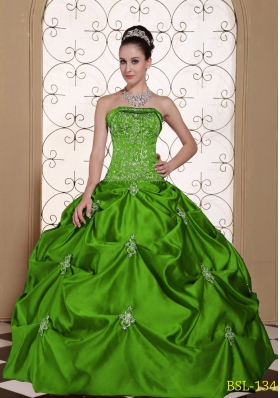 2014 Embroidery Taffeta Strapless Modest Quinceanera Dress with Pick-ups