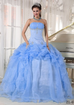 2014 New Style Puffy Strapless Beading Quinceanera Dress with Ruffles
