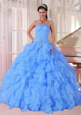 Puffy Strapless Ruffles and Beading Quinceanera Dresses for 2014