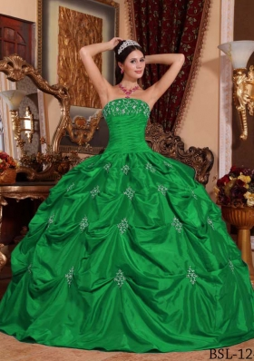 Puffy Strapless with Pick-ups and Appliques Decorate for 2014 Green Quinceanera Dress