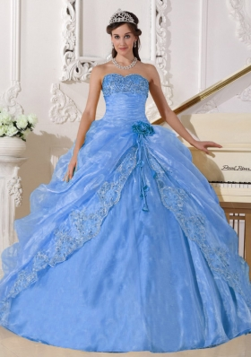 2014 Light Blue Puffy Strapless Embroidery and Beading Quinceanera Dresses