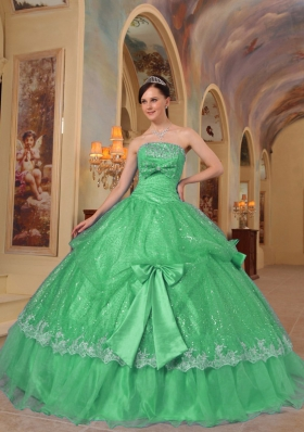 Lovely Puffy Strapless Bows Sequins for 2014 Green Quinceanera Dress