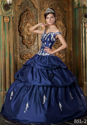 Puffy Off The Shoulder Appliques Quinceanera Dresses in Navy Blue