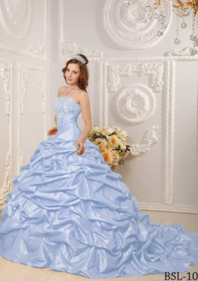 Puffy Strapless Appliques and Beading Quinceanera Dresses with Court Train