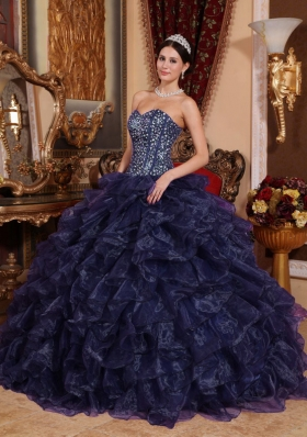 2014 Pretty Sweetheart Sequins Puffy Quinceanera Gowns with Ruffles