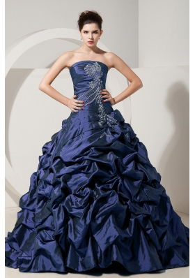 2014 Spring Navy Blue Strapless Brush Quinceanera Gowns with Beading