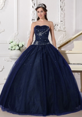 Affordable Puffy Sweetheart Navy Blue Long Quinceanera Dresses